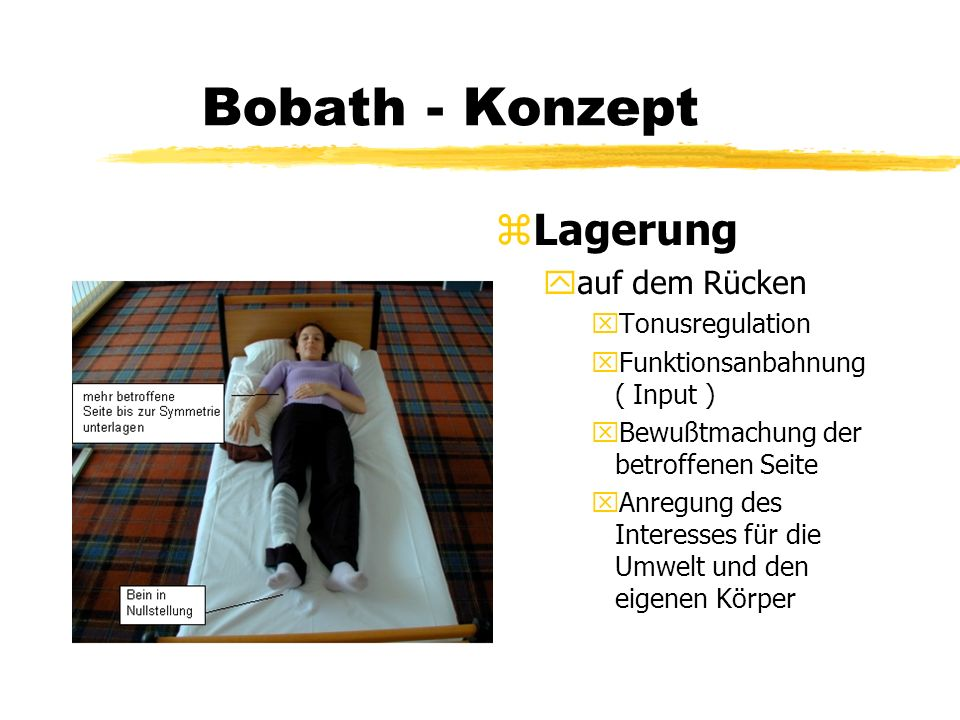 Bobath - Konzept Lagerung auf dem Rücken Tonusregulation