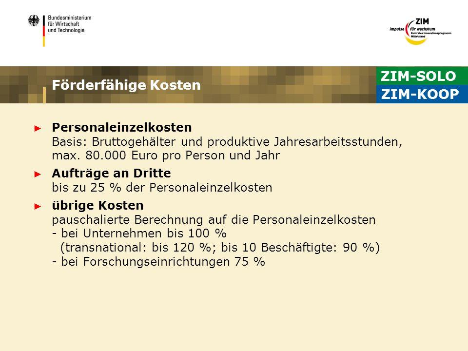 ZIM-SOLO Förderfähige Kosten ZIM-KOOP