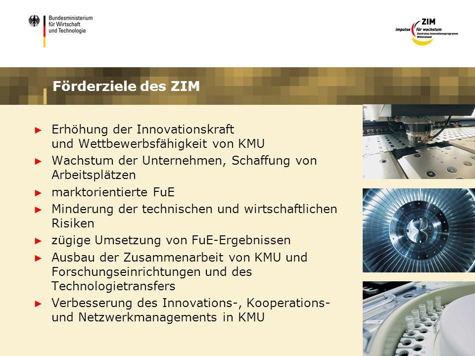 Förderziele des ZIM Erhöhung der Innovationskraft und Wettbewerbsfähigkeit von KMU. Wachstum der Unternehmen, Schaffung von Arbeitsplätzen.