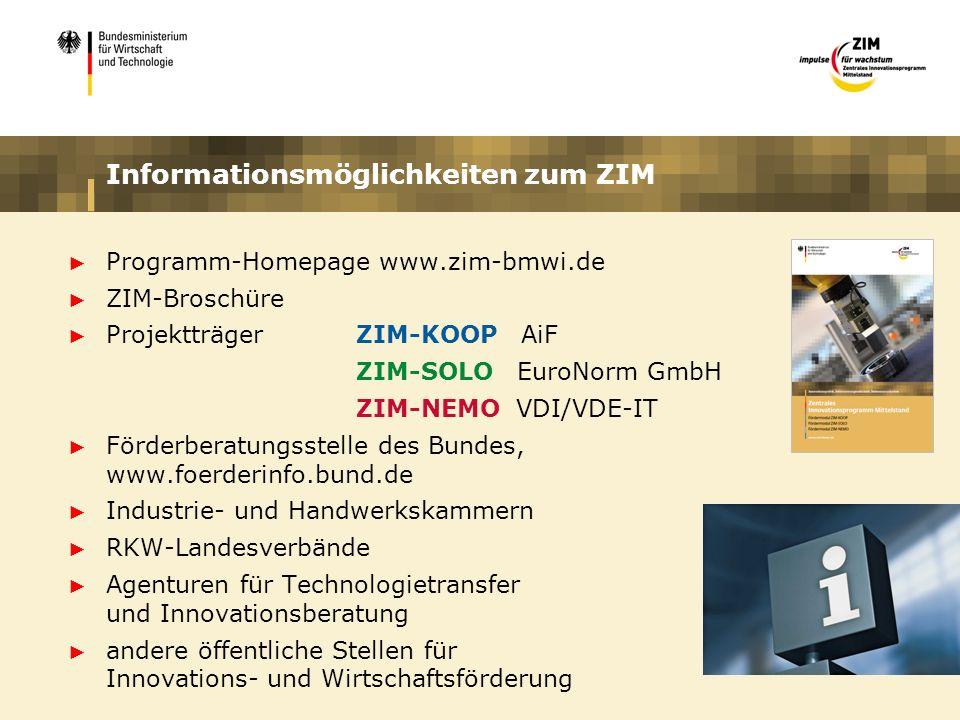 Informationsmöglichkeiten zum ZIM