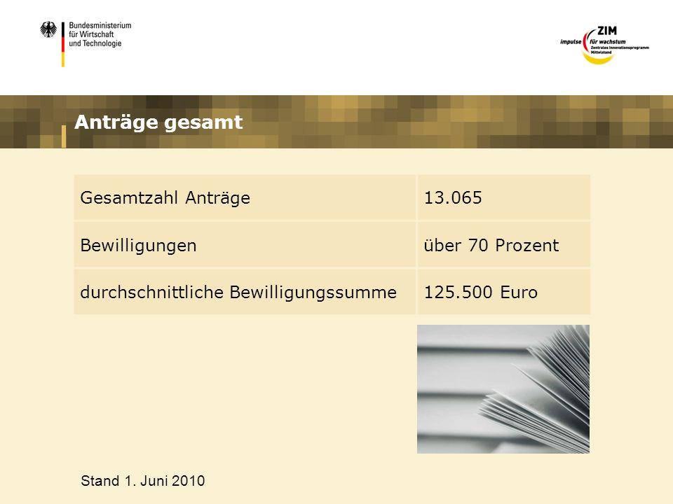 Anträge gesamt Gesamtzahl Anträge 13.065 Bewilligungen über 70 Prozent