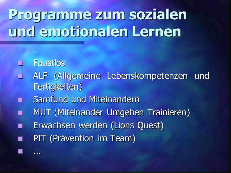 Programme zum sozialen und emotionalen Lernen