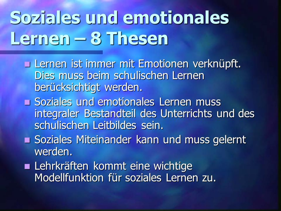 Soziales und emotionales Lernen – 8 Thesen