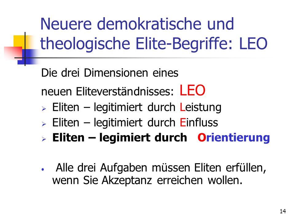 Neuere demokratische und theologische Elite-Begriffe: LEO