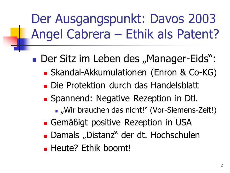 Der Ausgangspunkt: Davos 2003 Angel Cabrera – Ethik als Patent