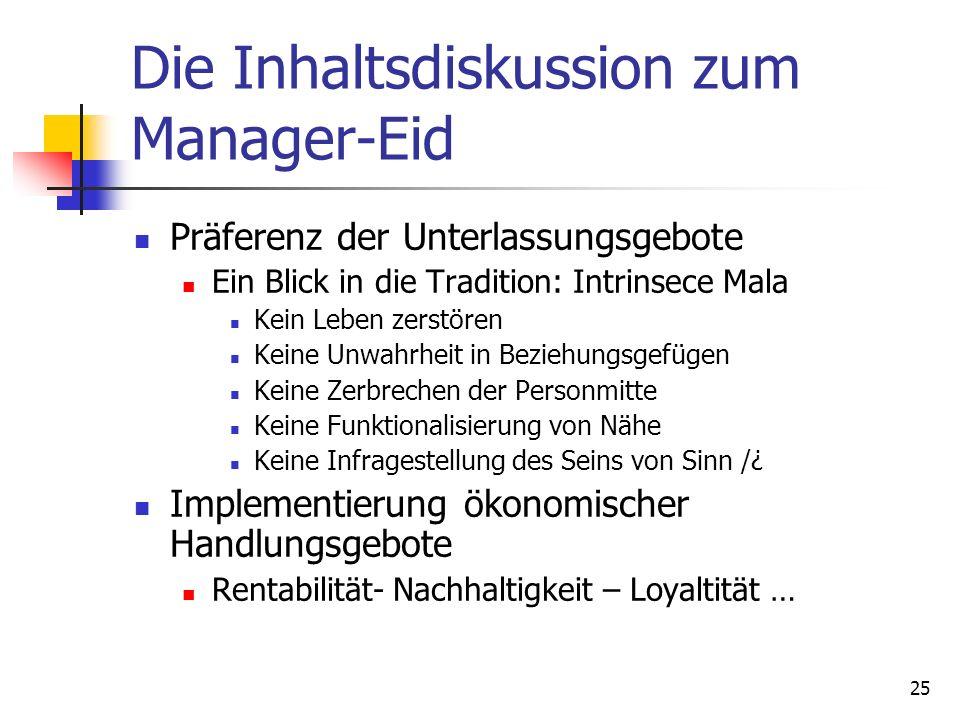 Die Inhaltsdiskussion zum Manager-Eid