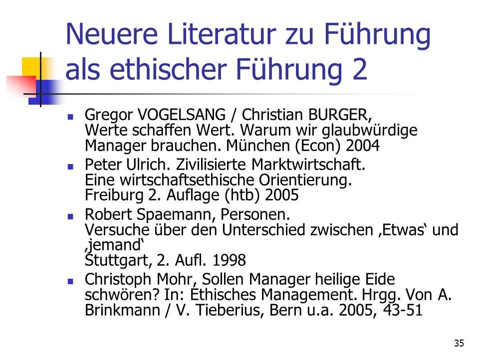 Neuere Literatur zu Führung als ethischer Führung 2