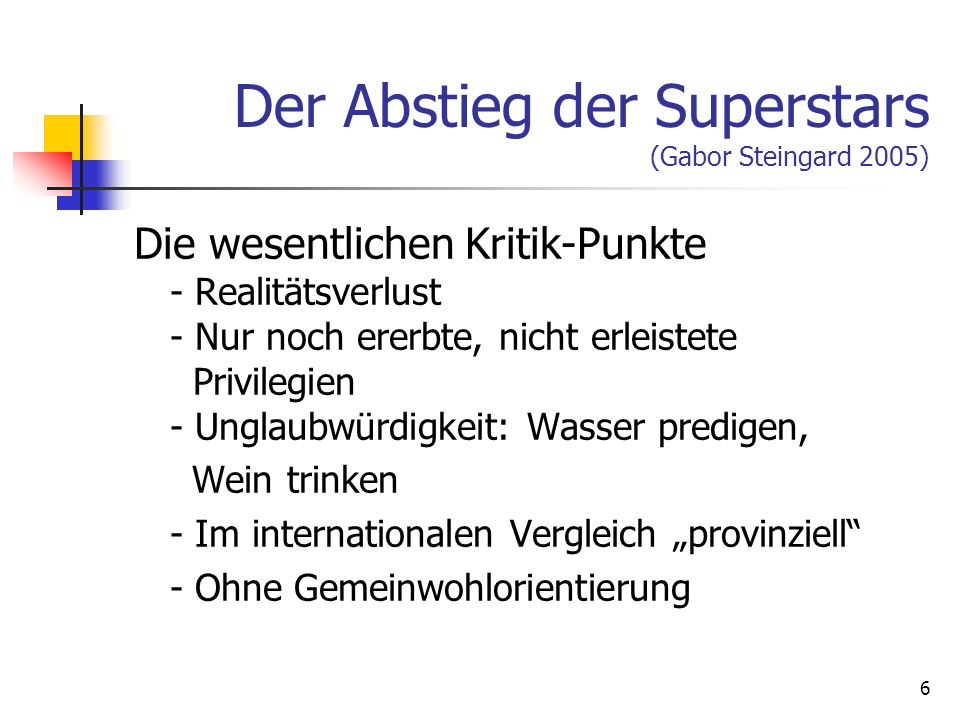 Der Abstieg der Superstars (Gabor Steingard 2005)
