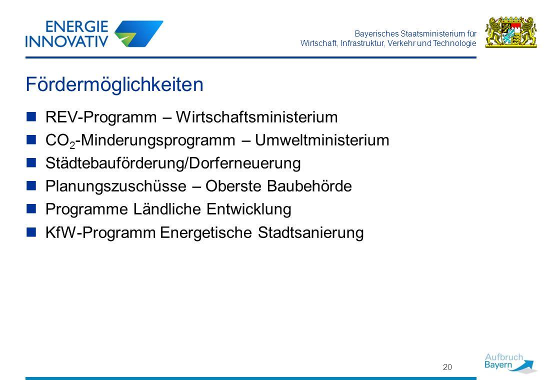 Fördermöglichkeiten REV-Programm – Wirtschaftsministerium