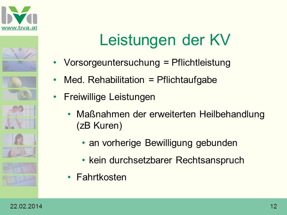 Leistungen der KV Vorsorgeuntersuchung = Pflichtleistung