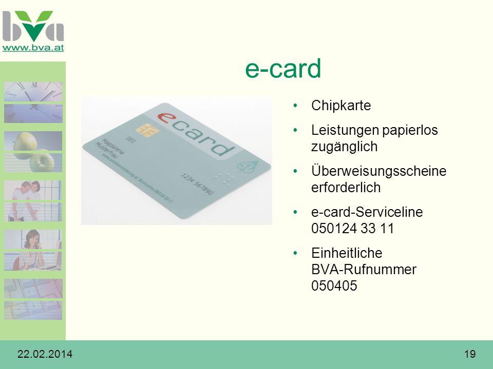 e-card Chipkarte Leistungen papierlos zugänglich