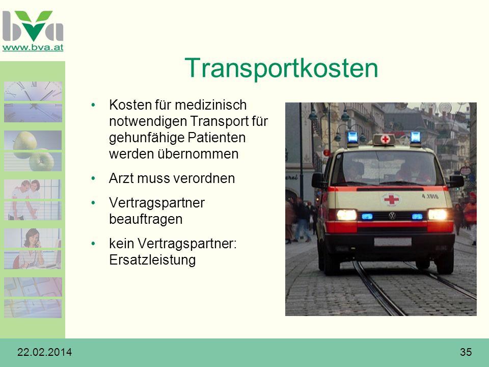 Transportkosten Kosten für medizinisch notwendigen Transport für gehunfähige Patienten werden übernommen.
