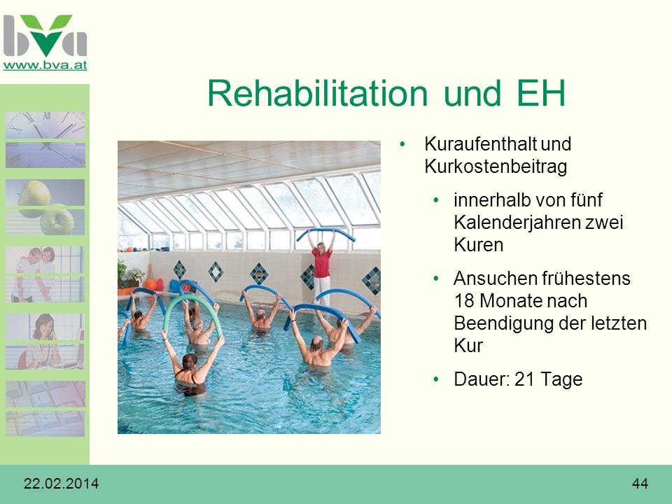 Rehabilitation und EH Kuraufenthalt und Kurkostenbeitrag