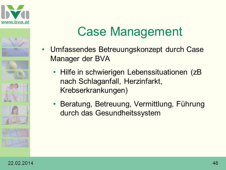 Case Management Umfassendes Betreuungskonzept durch Case Manager der BVA.