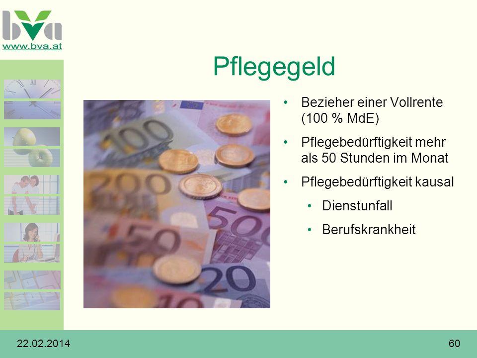 Pflegegeld Bezieher einer Vollrente (100 % MdE)