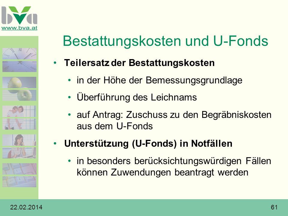 Bestattungskosten und U-Fonds