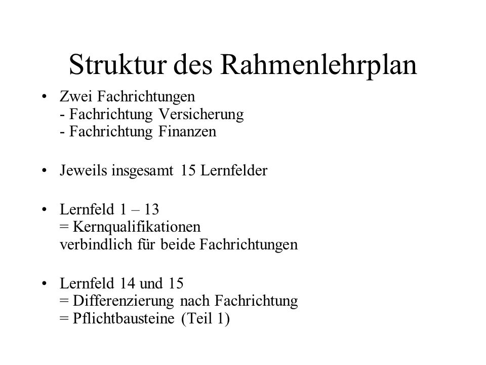 Struktur des Rahmenlehrplan