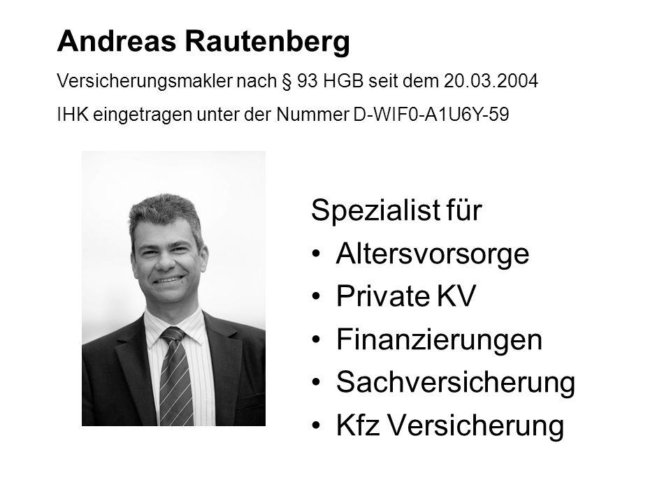 Andreas Rautenberg Spezialist für Altersvorsorge Private KV
