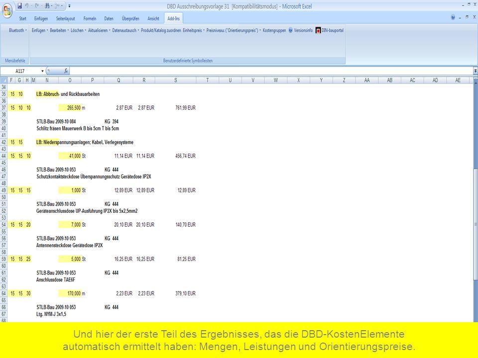 Und hier der erste Teil des Ergebnisses, das die DBD-KostenElemente