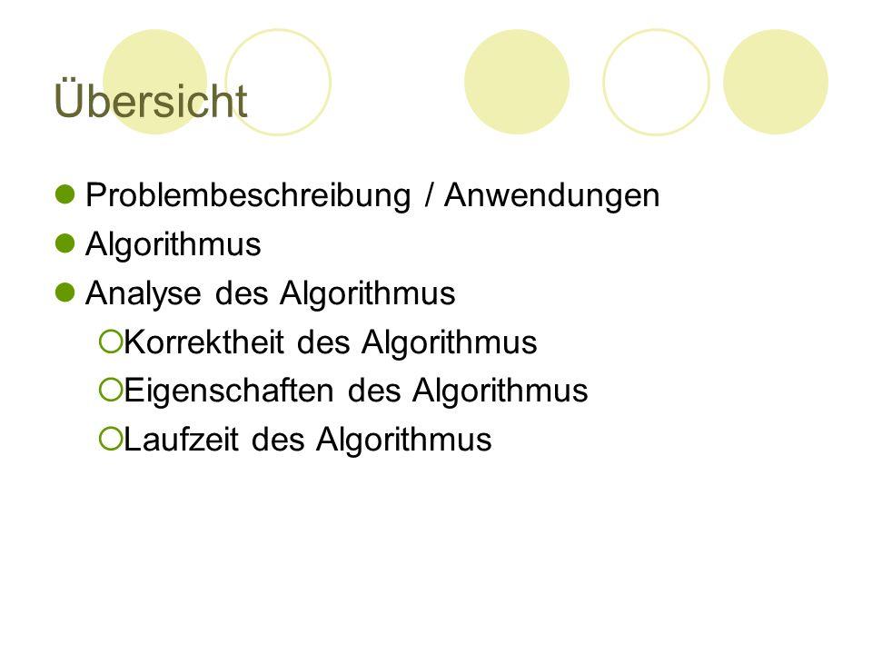 Übersicht Problembeschreibung / Anwendungen Algorithmus