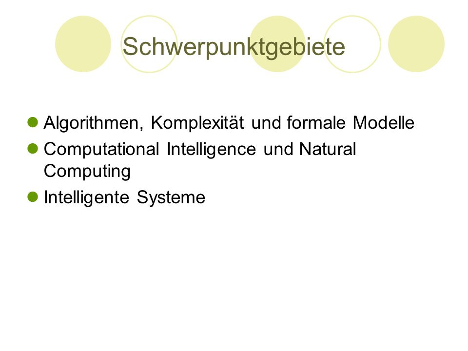 Schwerpunktgebiete Algorithmen, Komplexität und formale Modelle