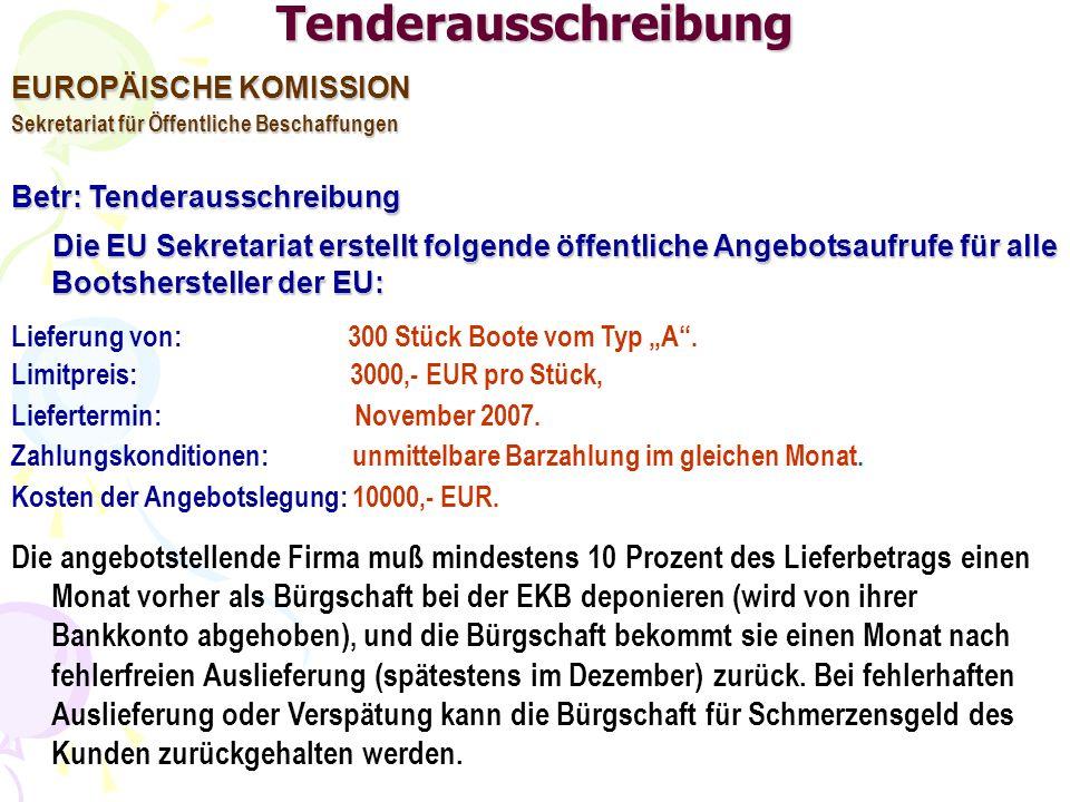 Tenderausschreibung EUROPÄISCHE KOMISSION. Sekretariat für Öffentliche Beschaffungen. Betr: Tenderausschreibung.