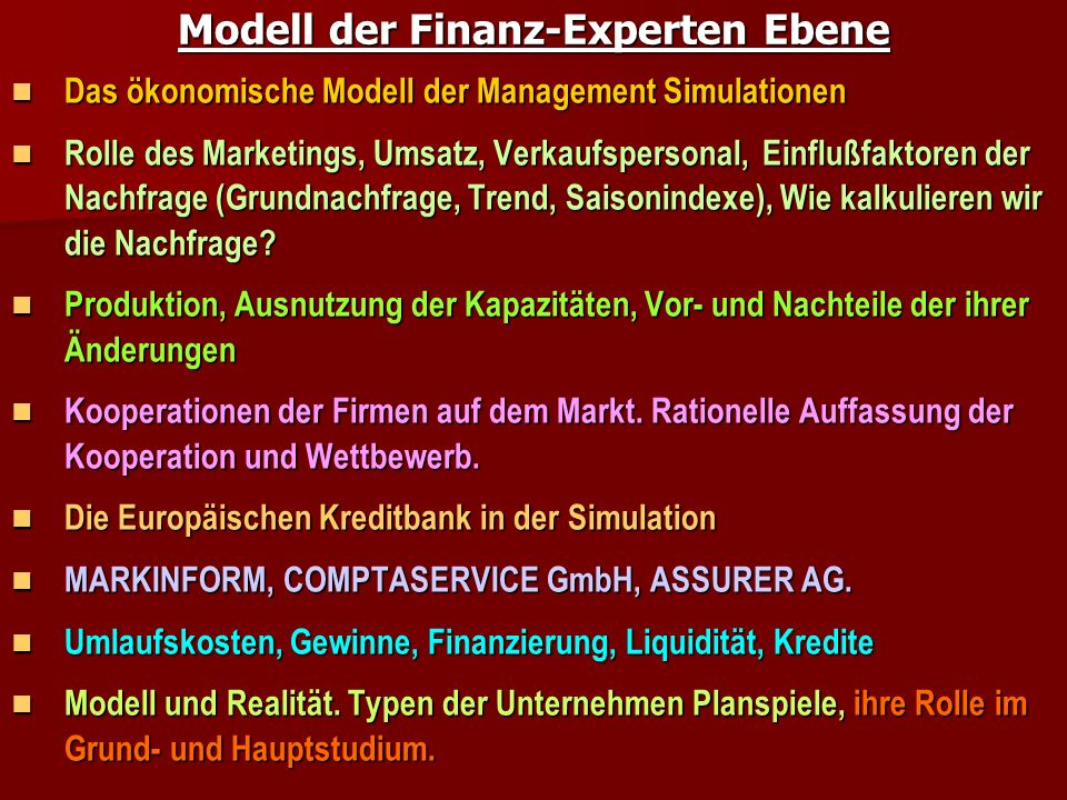 Modell der Finanz-Experten Ebene