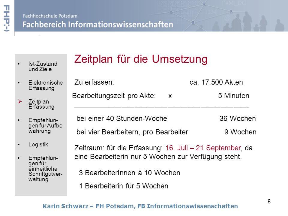 Zeitplan für die Umsetzung