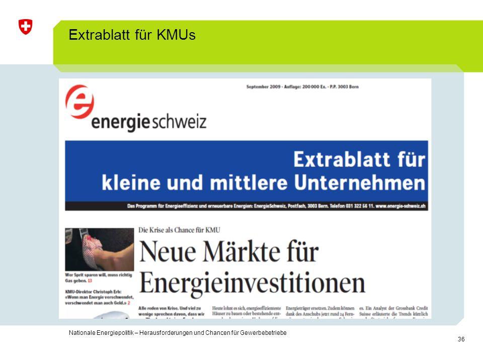 Extrablatt für KMUs Nationale Energiepolitik – Herausforderungen und Chancen für Gewerbebetriebe