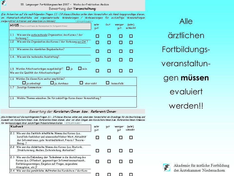 Alle ärztlichen Fortbildungs-veranstaltun-gen müssen evaluiert werden!!