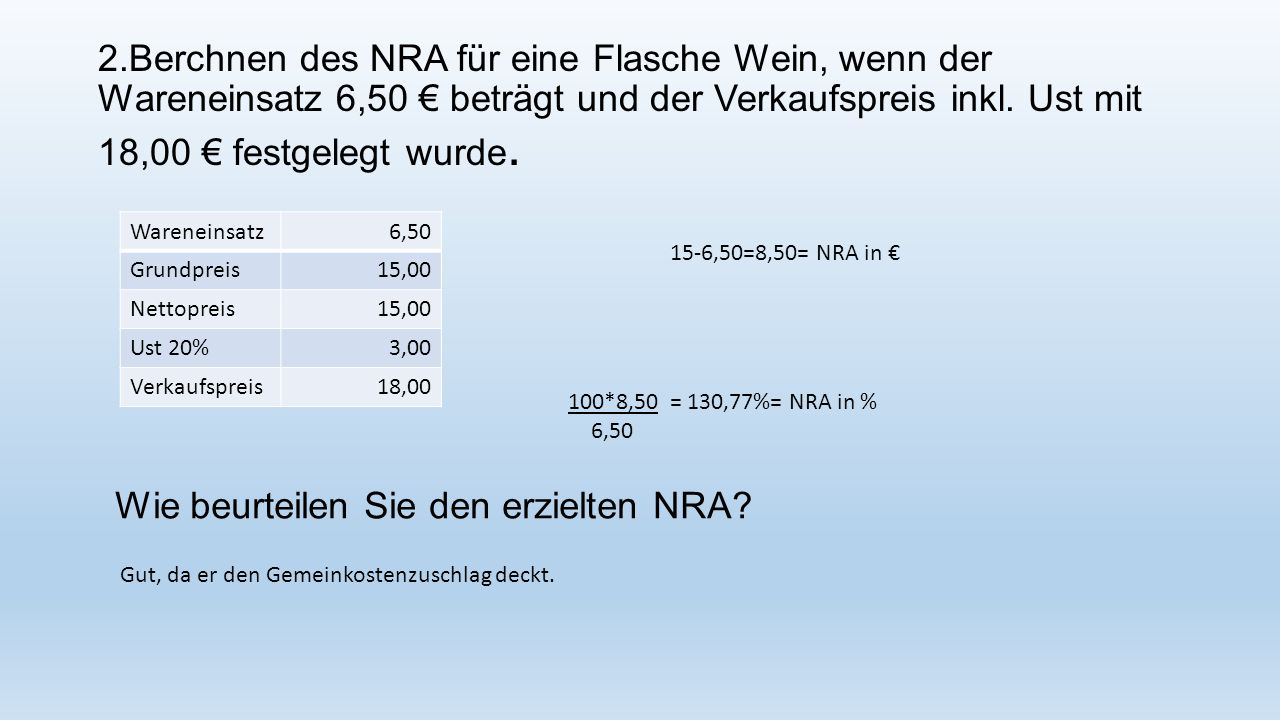 Wie beurteilen Sie den erzielten NRA
