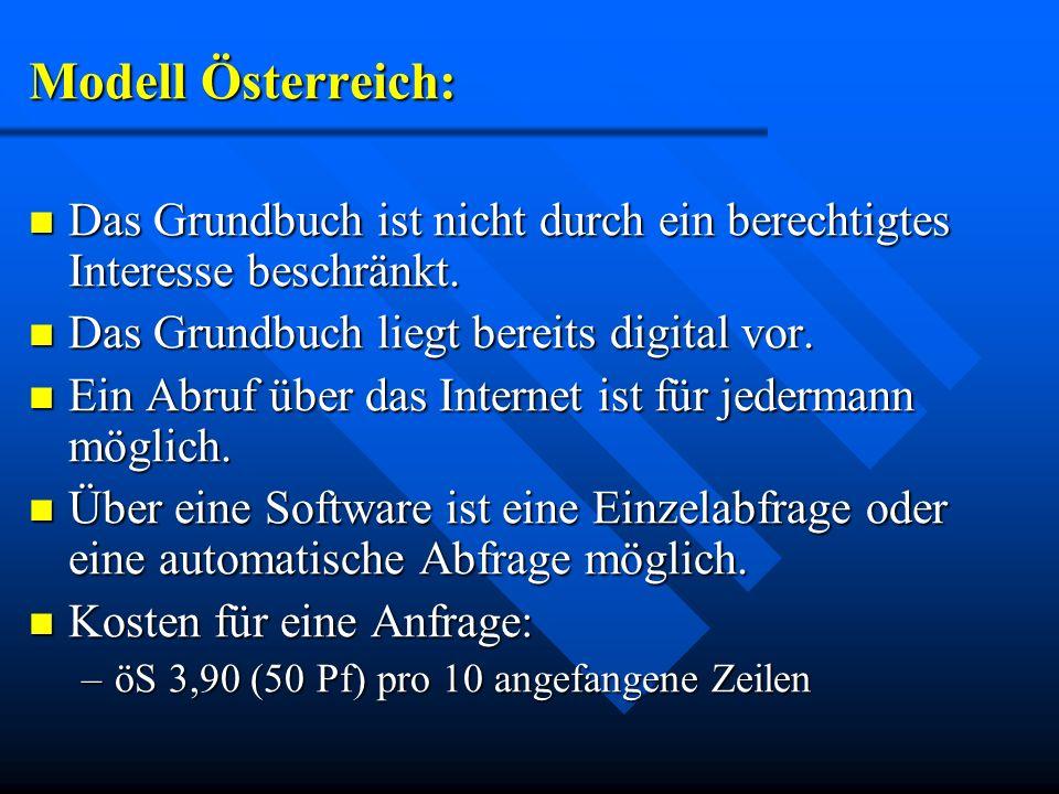 Modell Österreich:Das Grundbuch ist nicht durch ein berechtigtes Interesse beschränkt. Das Grundbuch liegt bereits digital vor.