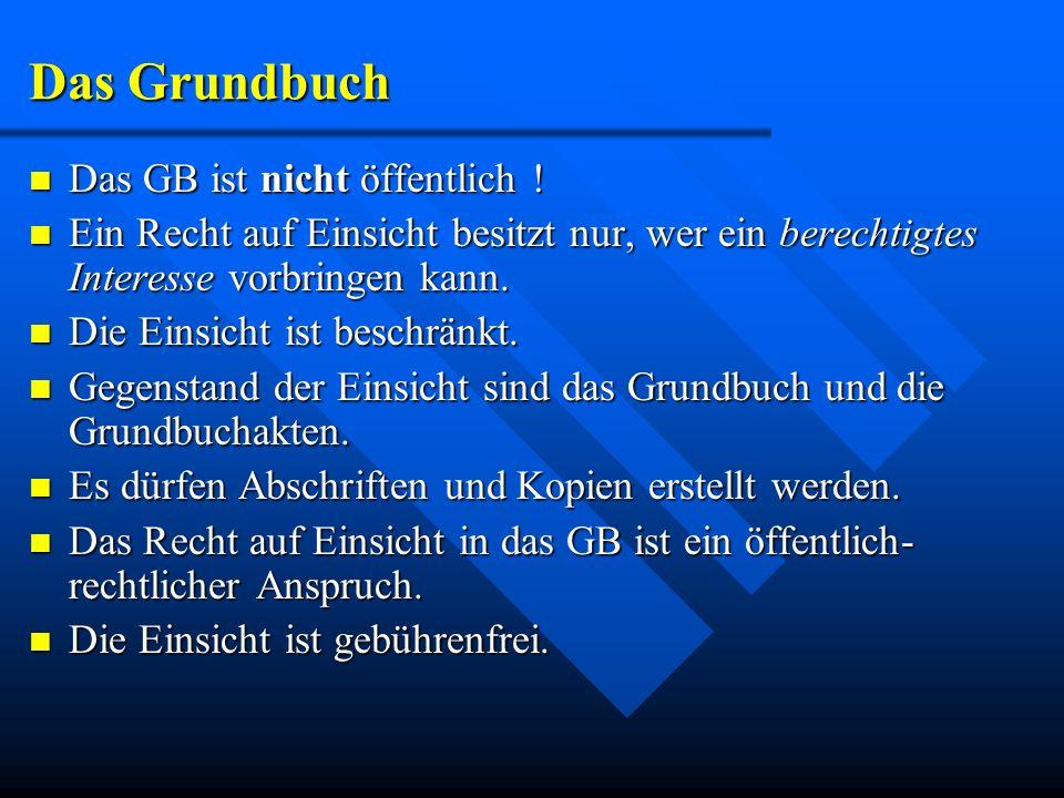 Das Grundbuch Das GB ist nicht öffentlich !