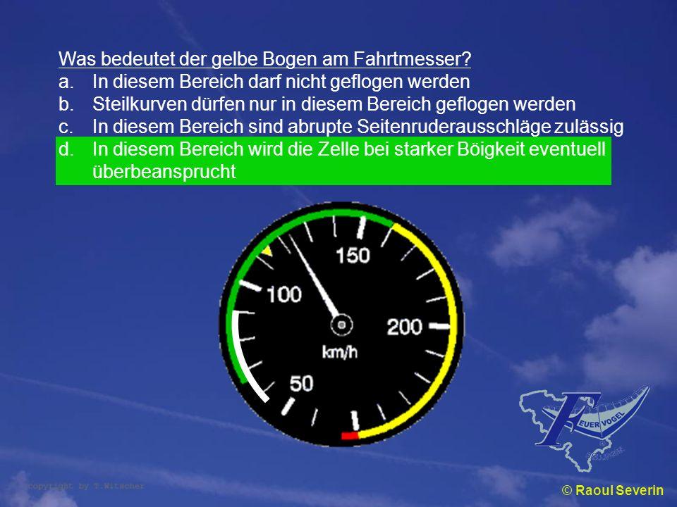 Was bedeutet der gelbe Bogen am Fahrtmesser