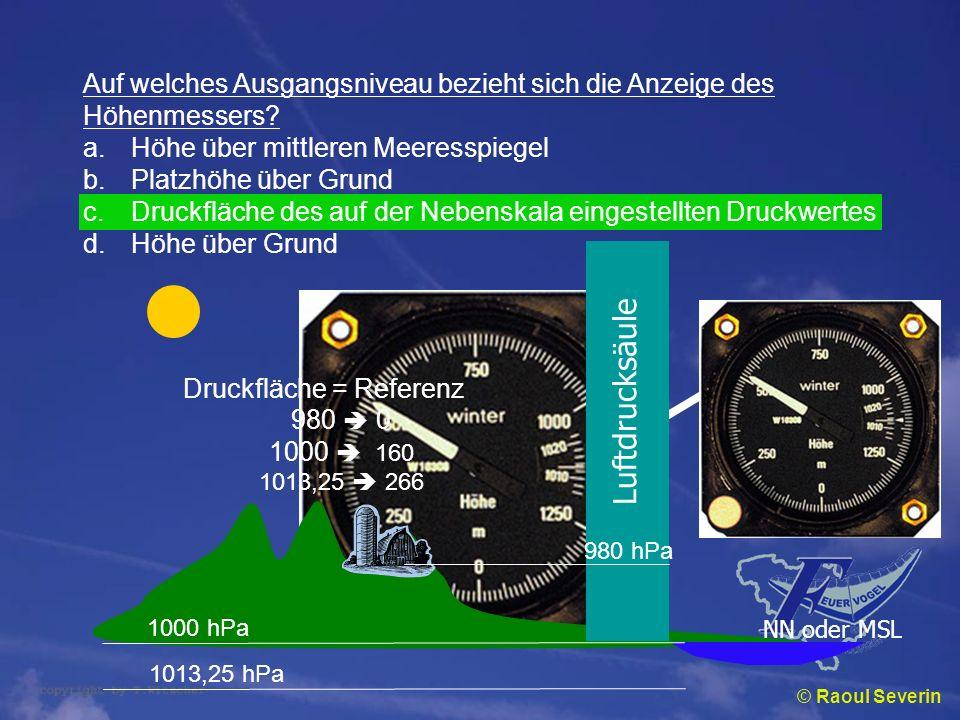Luftdrucksäule Auf welches Ausgangsniveau bezieht sich die Anzeige des