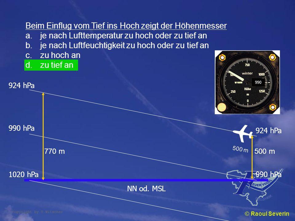 ✈ Beim Einflug vom Tief ins Hoch zeigt der Höhenmesser