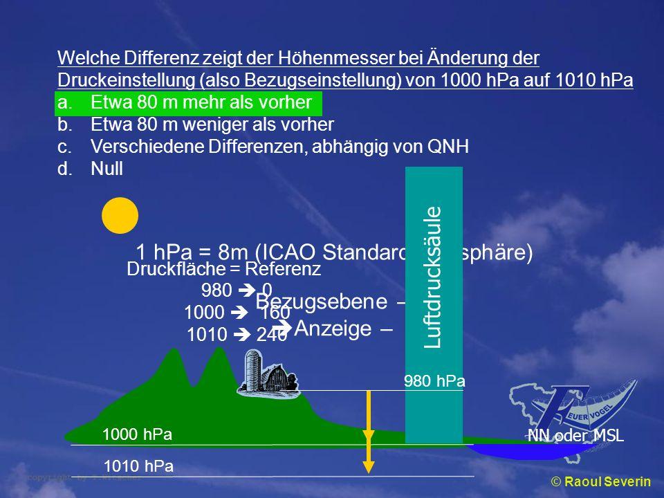 1 hPa = 8m (ICAO Standardatmosphäre) Luftdrucksäule