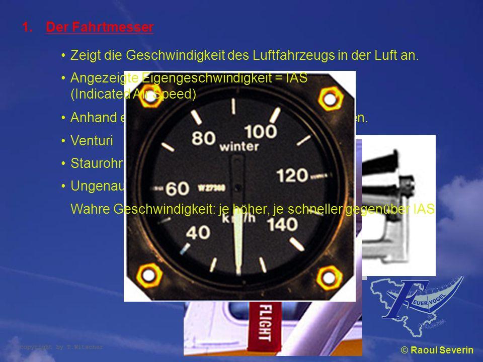 Zeigt die Geschwindigkeit des Luftfahrzeugs in der Luft an.