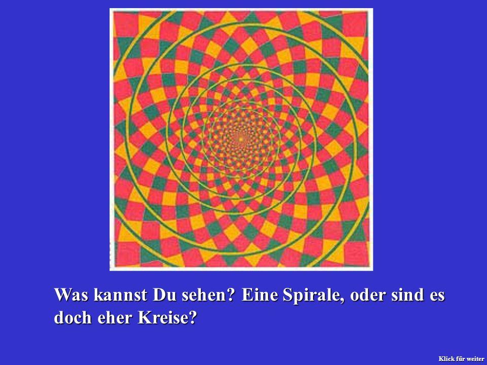 Was kannst Du sehen Eine Spirale, oder sind es doch eher Kreise