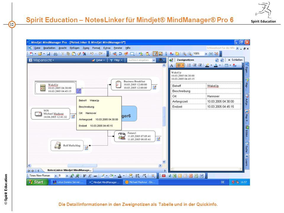 © Spirit Education Die Detailinformationen in den Zweignotizen als Tabelle und in der Quickinfo.