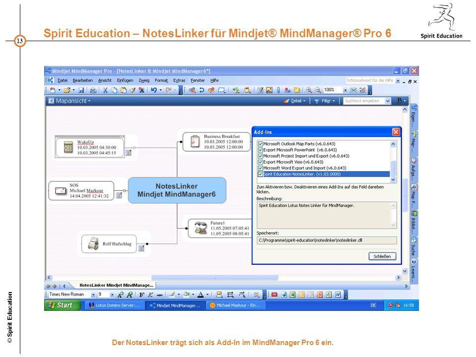 Der NotesLinker trägt sich als Add-In im MindManager Pro 6 ein.