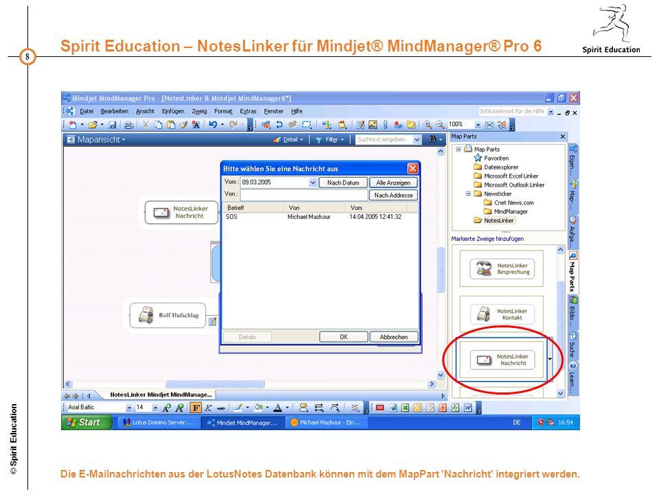 © Spirit Education Die E-Mailnachrichten aus der LotusNotes Datenbank können mit dem MapPart Nachricht integriert werden.