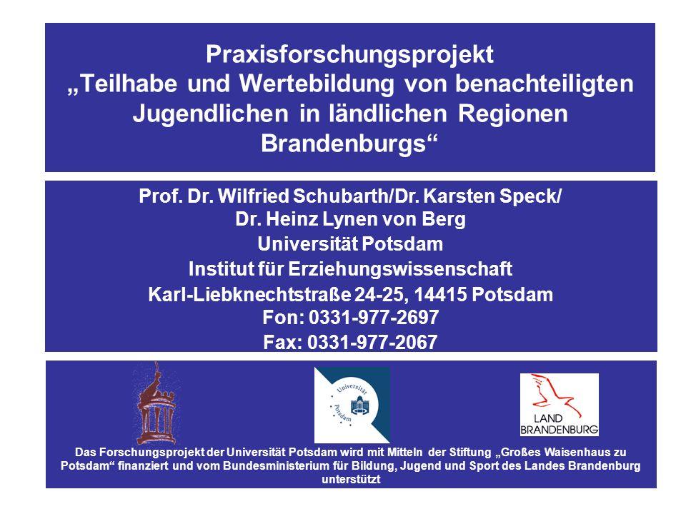 """Praxisforschungsprojekt """"Teilhabe und Wertebildung von benachteiligten Jugendlichen in ländlichen Regionen Brandenburgs"""