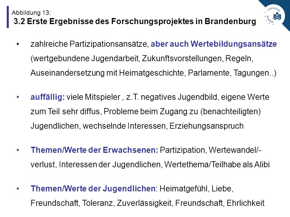 Abbildung 13: 3.2 Erste Ergebnisse des Forschungsprojektes in Brandenburg