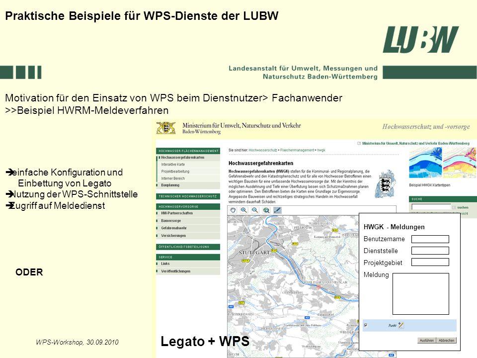 Legato + WPS Praktische Beispiele für WPS-Dienste der LUBW