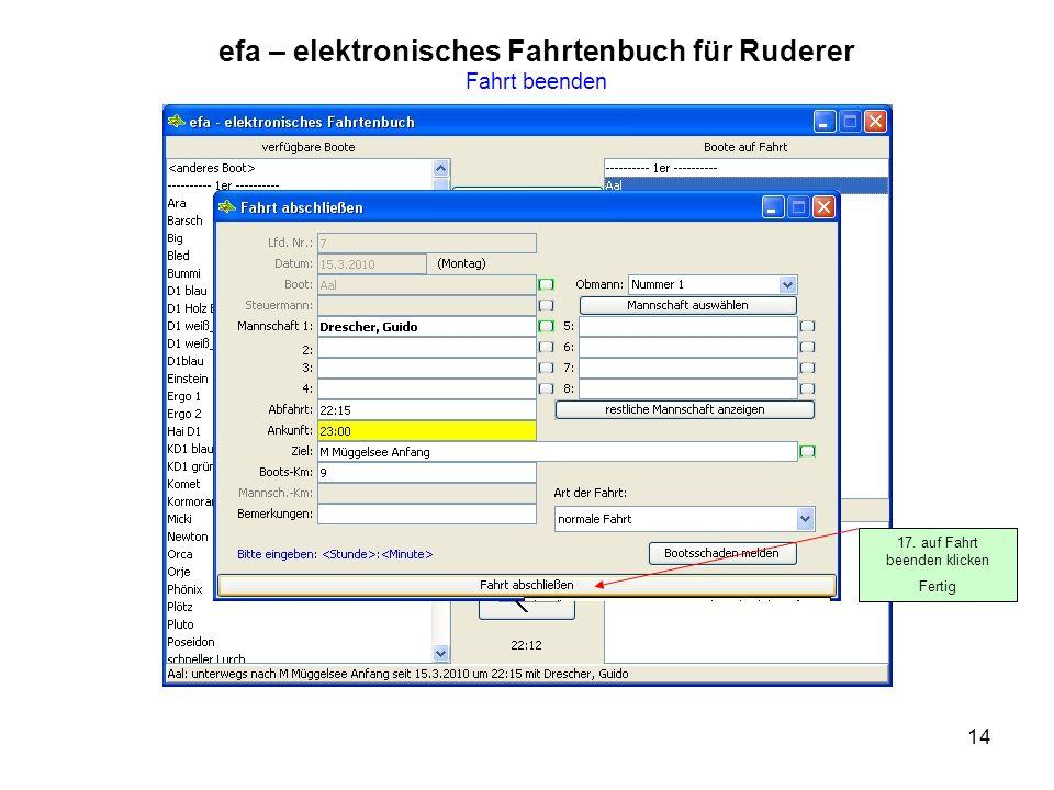 efa – elektronisches Fahrtenbuch für Ruderer Fahrt beenden