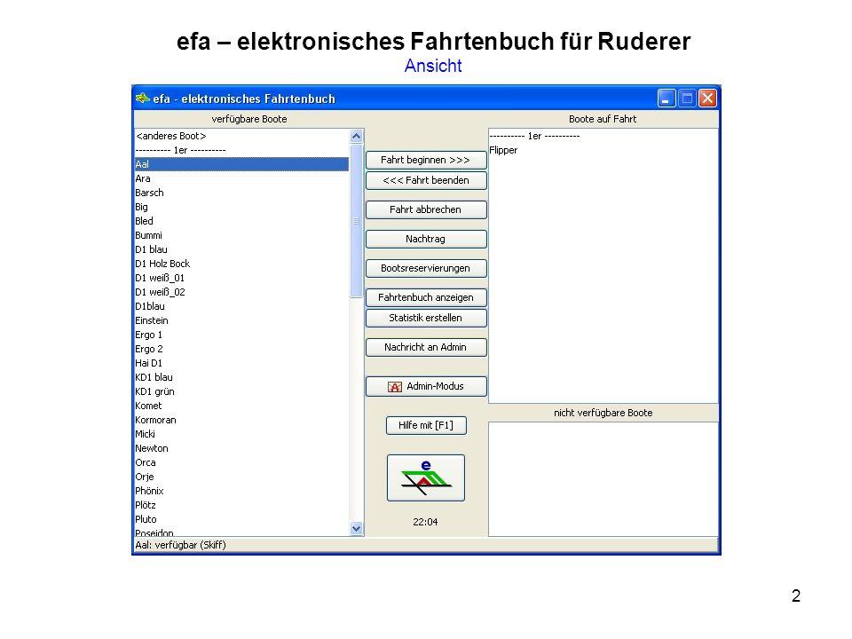 efa – elektronisches Fahrtenbuch für Ruderer Ansicht