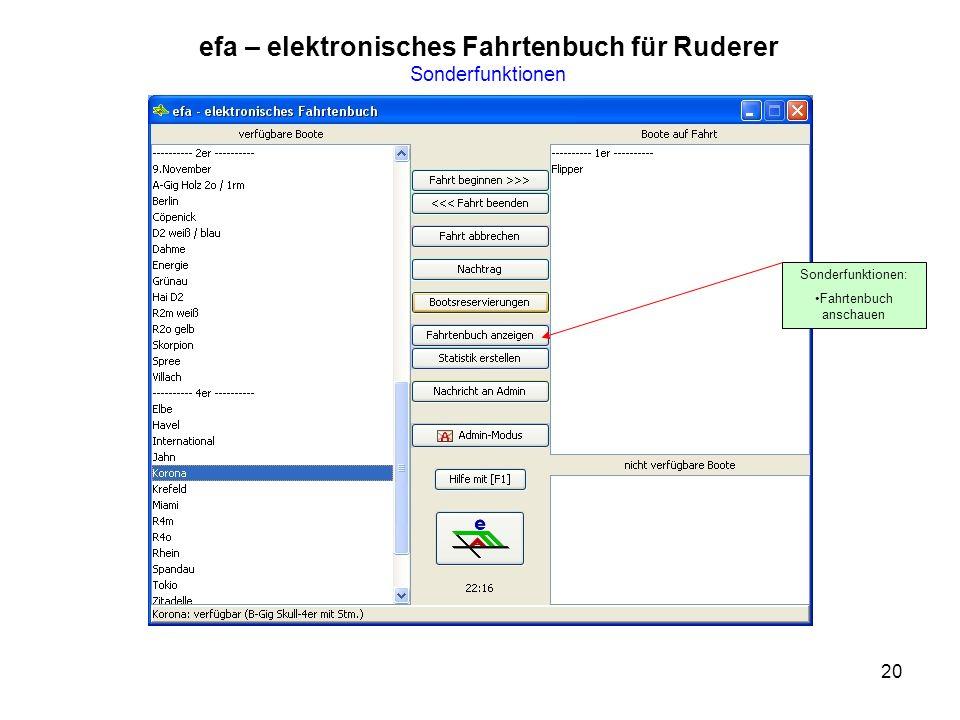 efa – elektronisches Fahrtenbuch für Ruderer Sonderfunktionen