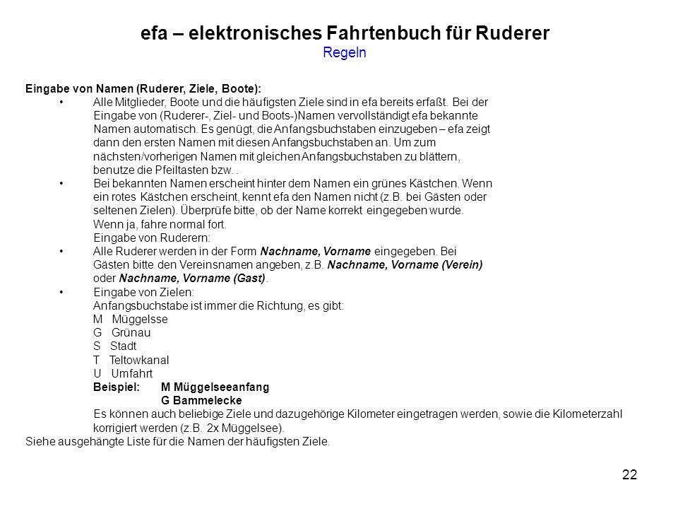 efa – elektronisches Fahrtenbuch für Ruderer Regeln