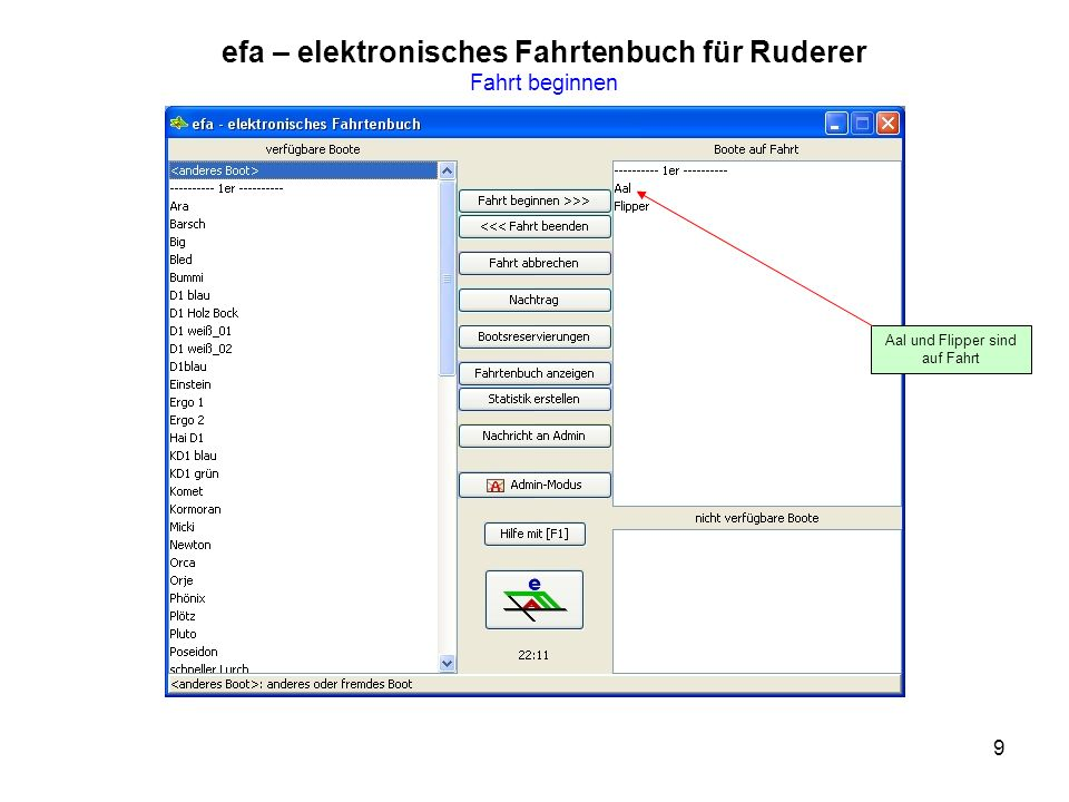 efa – elektronisches Fahrtenbuch für Ruderer Fahrt beginnen